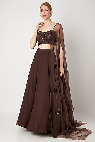 Brown Lehenga With Embroidered Blouse & Attached Dupatta by Kehiaa by Kashmiraa