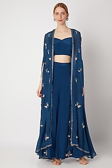 Cobalt Blue Embroidered Cape Set by Kehiaa by Kashmiraa