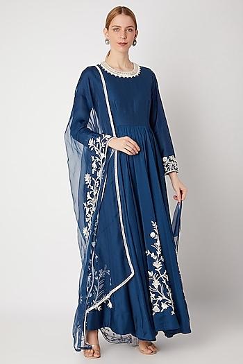 Cobalt Blue Embroidered Anarkali Set by Kehiaa by Kashmiraa