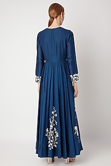 Cobalt Blue Embroidered Anarkali Set by Kehiaa by Kashmiraa