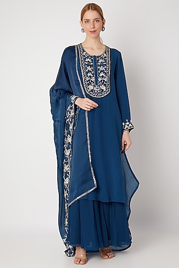 Cobalt Blue Embroidered Sharara Set by Kehiaa by Kashmiraa