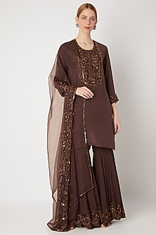 Brown Embroidered Sharara Set by Kehiaa by Kashmiraa