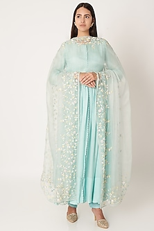 Sky Blue Sequins Embroidered Anarkali Set by Kehiaa by Kashmiraa