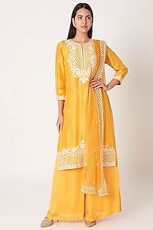 Yellow Embroidered Kurta Set by Kehiaa by Kashmiraa