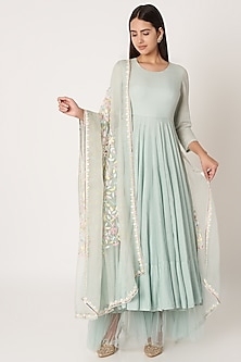 Sky Blue Embroidered Anarkali Set by Kehiaa by Kashmiraa