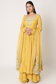 Yellow Embroidered Anarkali Set by Kehiaa by Kashmiraa