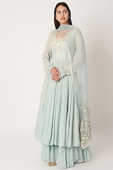 Mint Embroidered Anarkali Set by Kehiaa by Kashmiraa