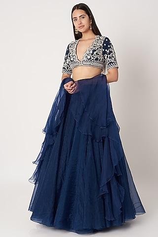 Cobalt Blue Embroidered Lehenga Set by Kehiaa by Kashmiraa