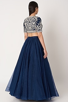 Cobalt Blue Embroidered Lehenga Set by Kehiaa by Kashmiraa