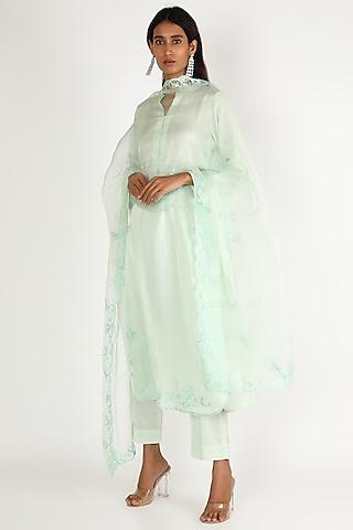 Mint Green Embroidered Kurta Set by Kehiaa By Kashmiraa