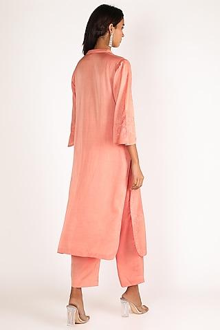 Peach Embroidered kurta Set by Kehiaa By Kashmiraa