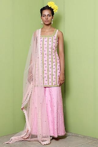 Pink Dola Silk Sharara Set by Keerthi Kadire