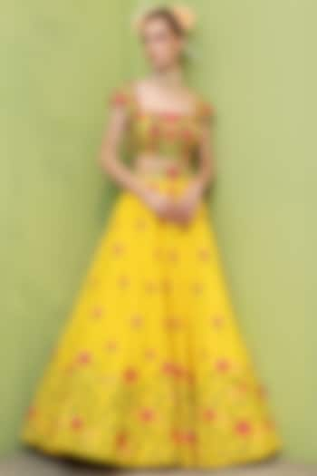 Yellow Raw Silk Lehenga Set by Keerthi Kadire