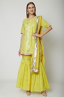 Yellow Embroidered Printed Gharara Set by KAIA