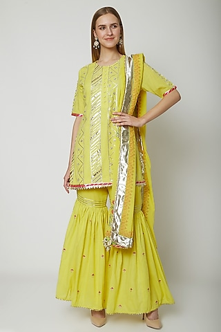 Yellow Embroidered Printed Gharara Set by KAIA