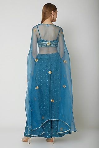 Sapphire Blue Embroidered Bustier With Cape & Palazzo Pants by KAIA