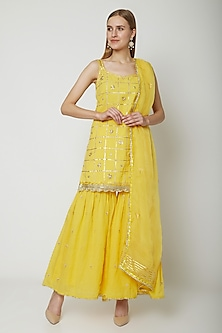 Yellow Embroidered & Printed Gharara Set by KAIA