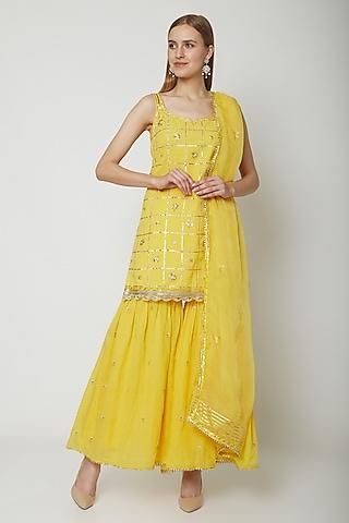 Yellow Embroidered & Printed Gharara Set by KAIA