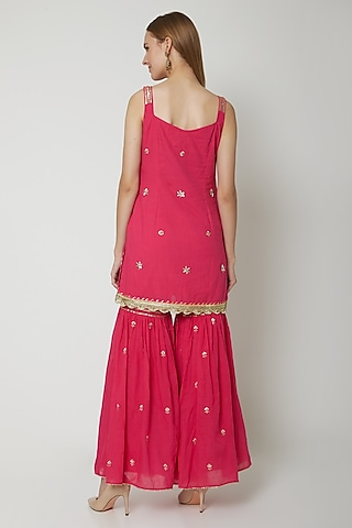 Hot Pink Embroidered Gharara Set by KAIA