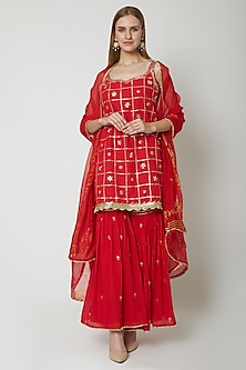 Red Embroidered Printed Gharara Set by KAIA
