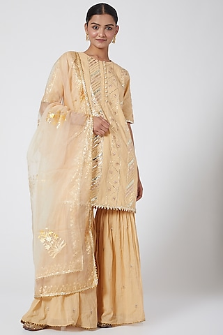 Beige Gold Embroidered Gharara Set by KAIA