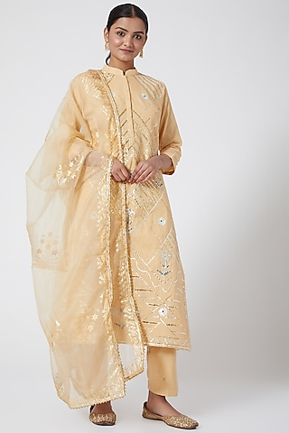 Beige Gold Embroidered Kurta Set by KAIA