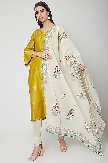 Off White Floral Printed Dupatta by KAIA