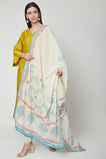 Off White Tree Printed Dupatta by KAIA