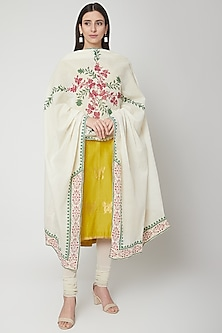 Off White Dupatta With Block Print by KAIA