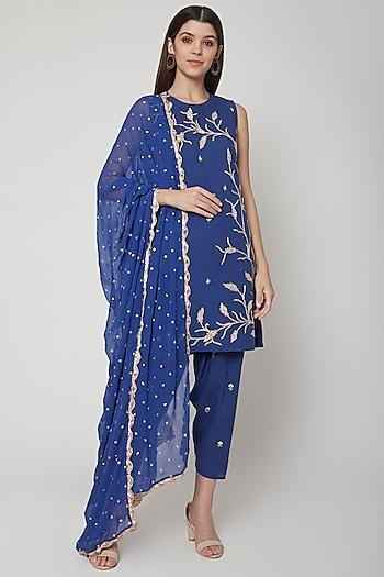 Cobalt Blue Embroidered Kurta Set by KAIA