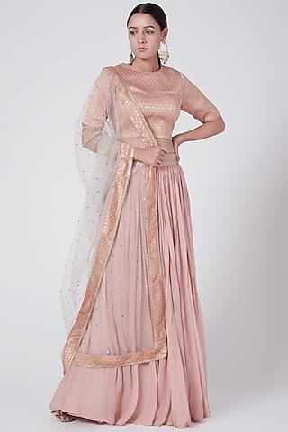 Dusky Pink Embroidered Lehenga Set by KAIA