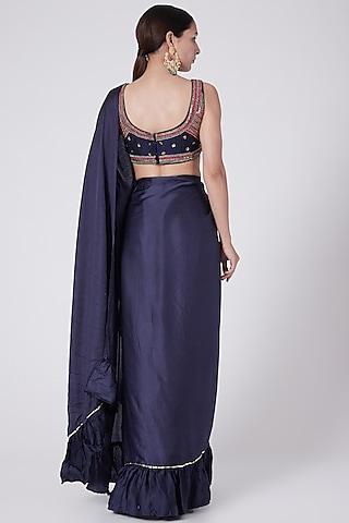 Indigo Blue Embellished Ruffled Saree Set by KAIA
