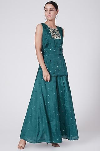 Emerald Green Embroidered Sharara Set by KAIA