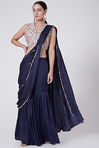 Grey Embroidered Pleated Gharara Set by KAIA