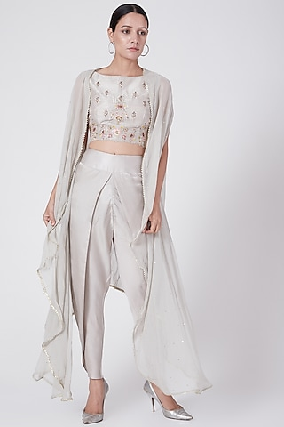Grey Embroidered Dhoti Pants Set With Cape by KAIA