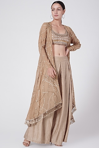 Tea Brown Embellished Palazzo Pant Set by KAIA