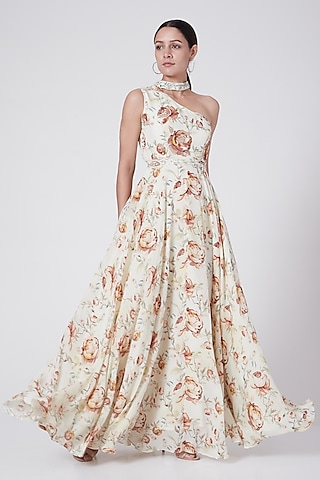 Off White Embroidered Maxi Dress With Belt by KAIA