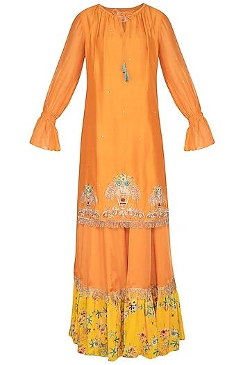 Rust Orange Embroidered & Printed Sharara Set by KAIA