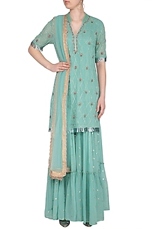 Turquoise Embroidered Sharara Set by KAIA