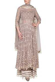 Dusky Lavender Embroidered Anarkali Sharara Set by KAIA