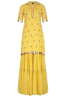Yellow Embroidered Sharara Set by KAIA