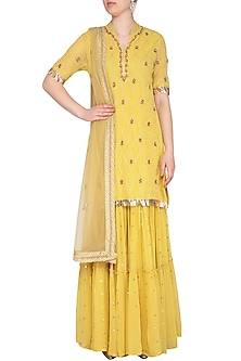 Yellow Embroidered Sharara Set by KAIA