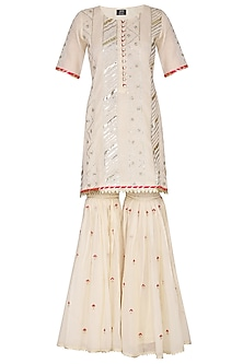 Off White Embroidered Printed Gharara Set by KAIA