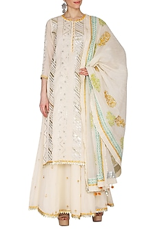 Off White Embroidered Printed Sharara Set by KAIA