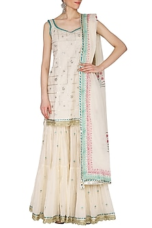 Off White Embroidered & Printed Tiered Gharara Set by KAIA