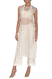 White Embroidered Kurta With Bustier & Pants by KAIA