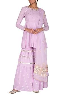 Mauve Embroidered Printed Gharara Set by KAIA