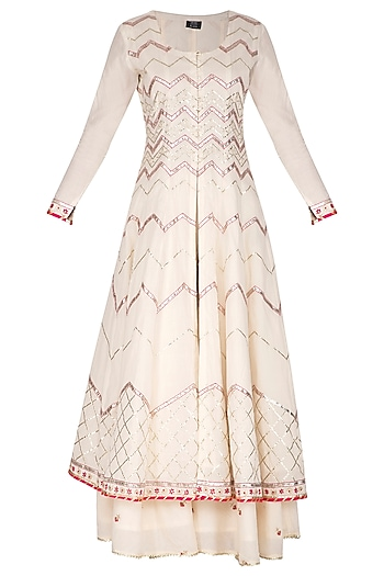 White Embroidered Anarkali Set by KAIA