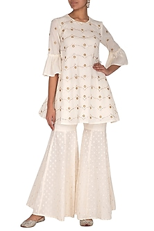 White Embroidered Kurta With Gharara by KAIA