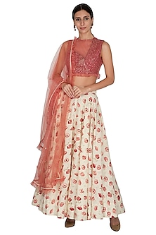 Dusky Red & White Embroidered Printed Lehenga Set by KAIA